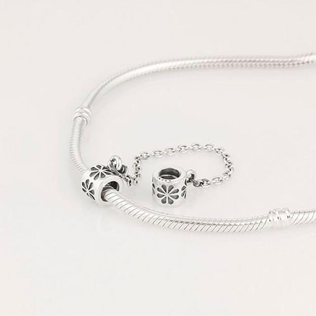 Serve para pandora pulseiras contas flor encantos da cadeia de segurança 100% 925 prata esterlina jóias finas frete grátis