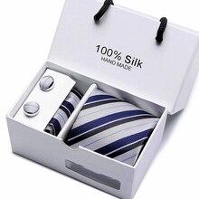 New 60 Styles Men`s Tie 100% Silk Ties Jacquard Woven Gravata Necktie Hanky Cufflink Sets For Wedding Party Business
