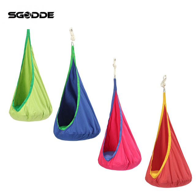 SGODDE Child Pod Swing Chair Reading Nook Tent Indoor Outdoor Hanging Seat  Hammock Kids Cotton Cloth