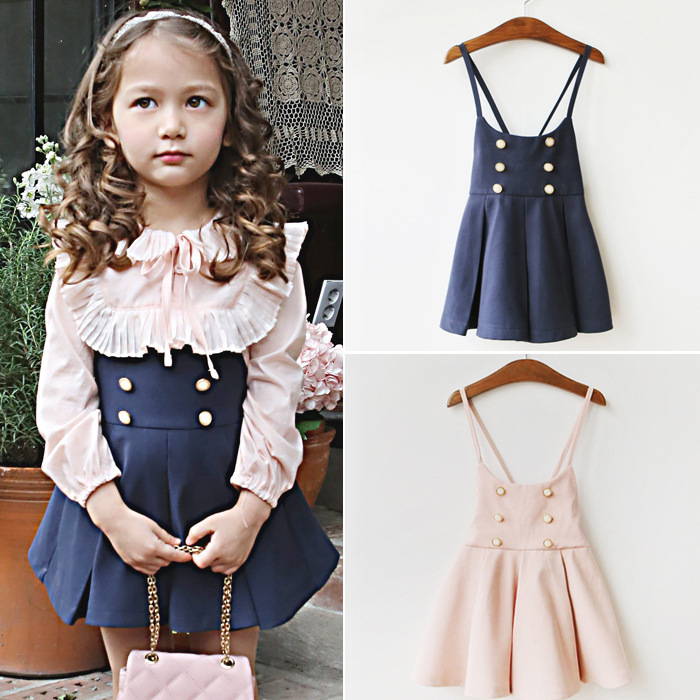 Korean New Child Girls Kids Pink / Blue Party Dresses Baby Clothes China Wedding Autumn Prom Dresses For Children