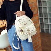 Кожа PU Рюкзак женщины свежий школьная сумка фот девочек-подростков кисточкой алмазы рюкзак отдыха Мода Восточный стиль сумка
