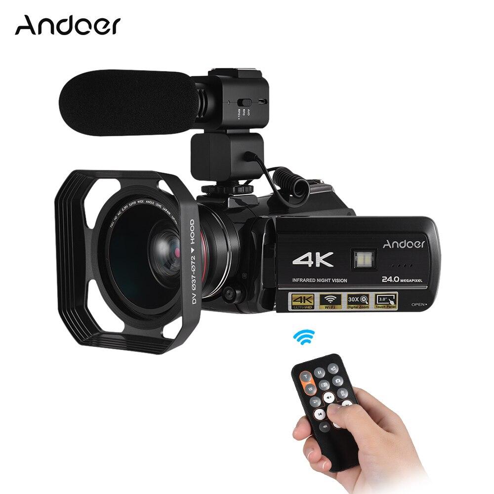 Nouveau Andoer Professionnel Vidéo Caméra 4 k Vidéo Caméra Caméscope w/Extra 0.39X Large Angle Lens + Lens Hood + Microphone externe
