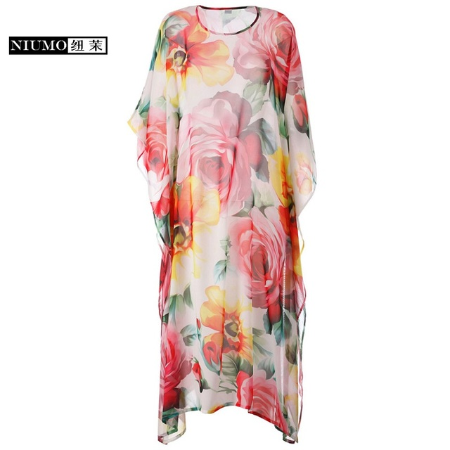 11e7e75383 Best Offers NIUMO Women's clothing 2018 New summer Chiffon thin Short  sleeve printing Long section Sexy