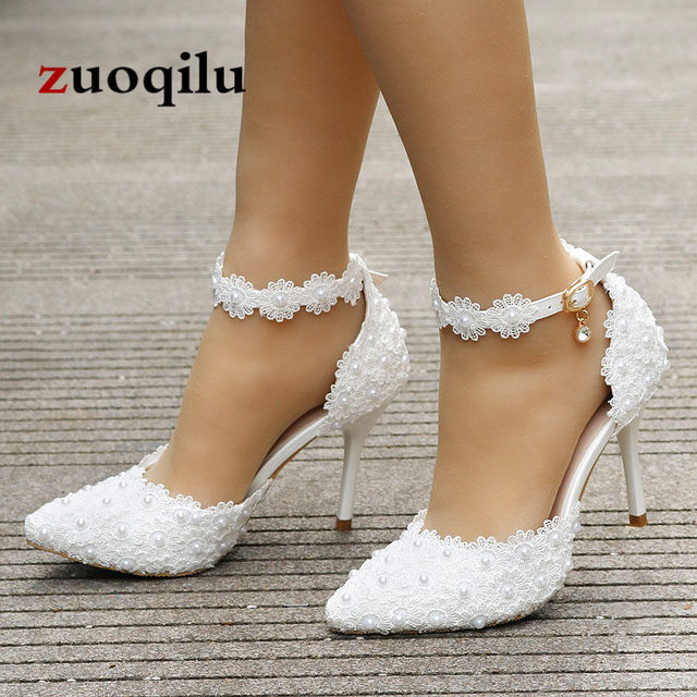 2018 Sexy High Heels Women Shoes Lace Ankle Strap White