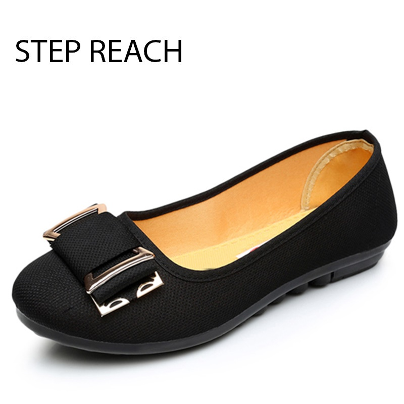 STEPREACH Brand shoes woman Casual Flats Handmade black Metal decoration comfortable slip-on Women sapato feminino zapatos mujer new designer women fur flats luxury brand slip on loafers zapatillas mujer casual ladies shoes pointed toe sapato feminino black