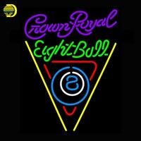 Crown Royal Eightball Billiards Pool Neon Sign Game Room Neon Bulbs Sign Real Glass Tube Handcrafted