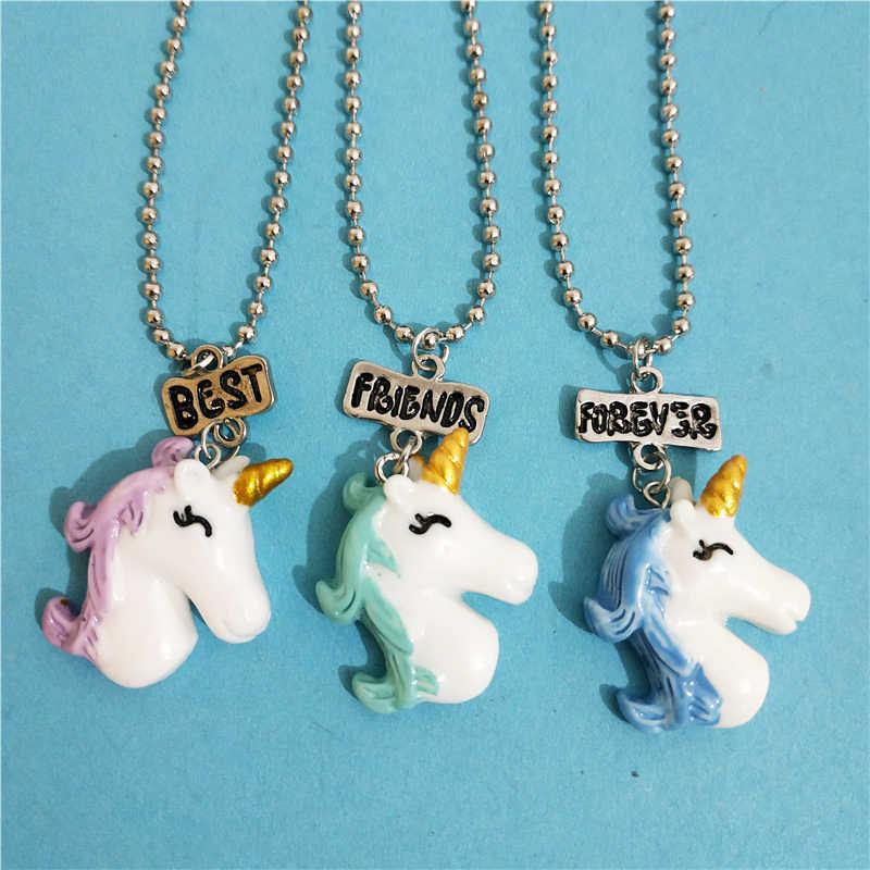50d3d0d339fb ... 3 unids lote BFF ballena unicornio Llama collar donut para niños niñas  carta mejores amigos