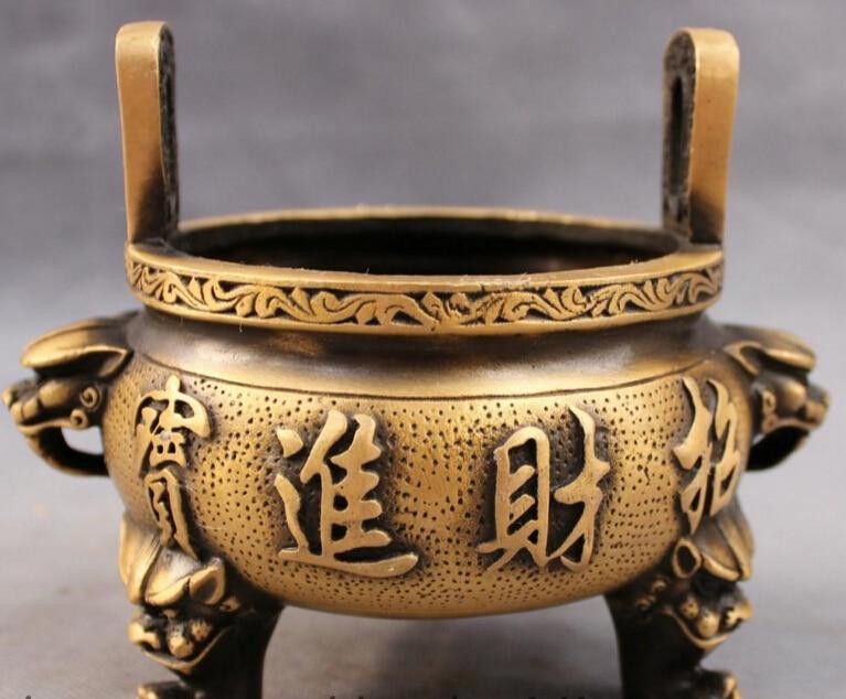 JP S0610 Tibet Bronze Buddhism Lion Head Statue Zhao Cai Jin Bao Incense Burner Censer B0403