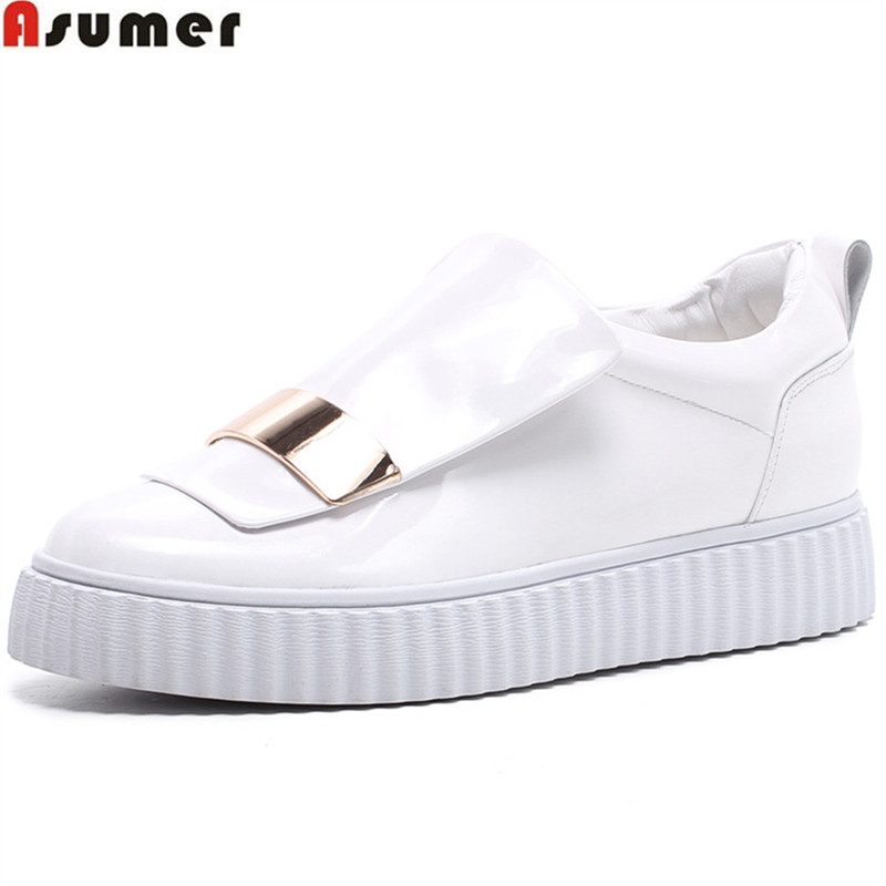 ASUMER black white fashion spring autumn flat shoes woman round toe casual sneakers shoes women genuine leather flats asumer black fashion spring autumn ladies shoes round toe lace up casual women flock cow leather shoes flats