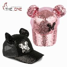 2017 1-5T Baby Girls Sequins Mickey Horn Baseball Caps Children Snapback Mesh Summer Adjustable Sun Hats Decoration T352