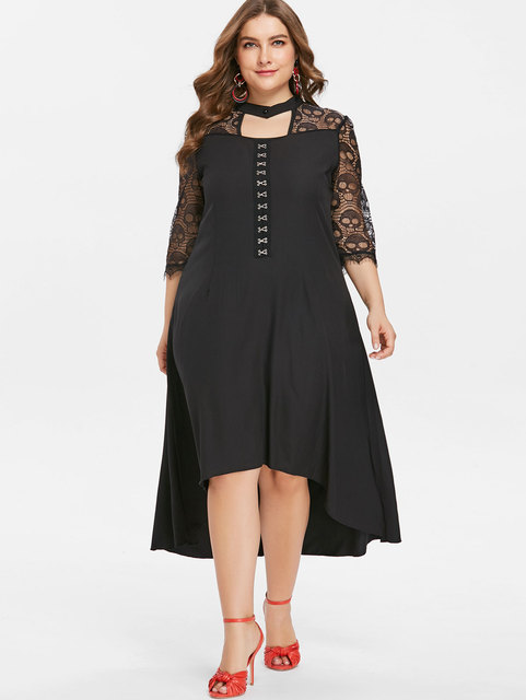 Kenancy Hook and Eye Plus Size High Low Dress Skull Lace Insert Front Cut  Out Keyhole d4df7a8d81b3
