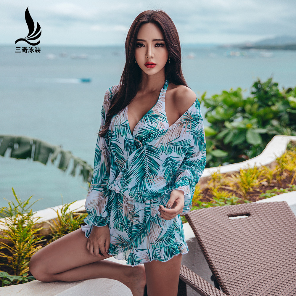 Swimwear Female Bikini Bathing Suits 2018 Women's Xxl Summer Top Three Piece Split Skirt Underwire Print Polyester Sierra Surfer rabbit print split top