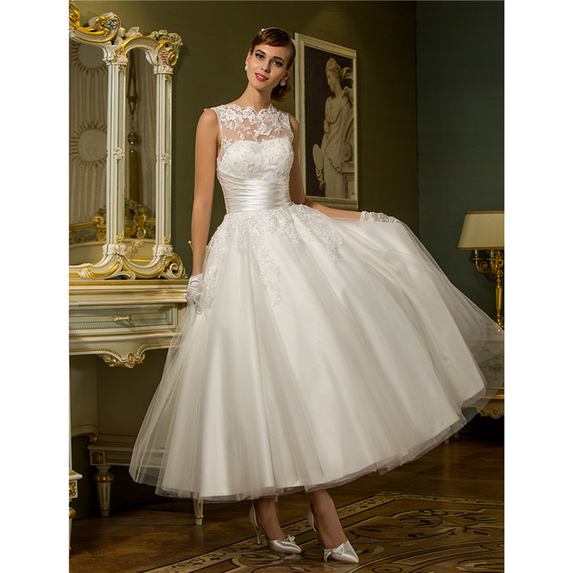 LAN TING BRIDE Princess Illusion Neckline Ankle Length Tulle Wedding Dress with Appliques Sash Ribbon Button