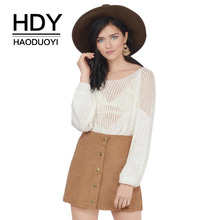 цена на HDY Haoduoyi Women Sweater Sheer Hollow Out White Sweaters Jumpers Long Sleeve Pullover Tops Crew Neck Knitting Pull Female