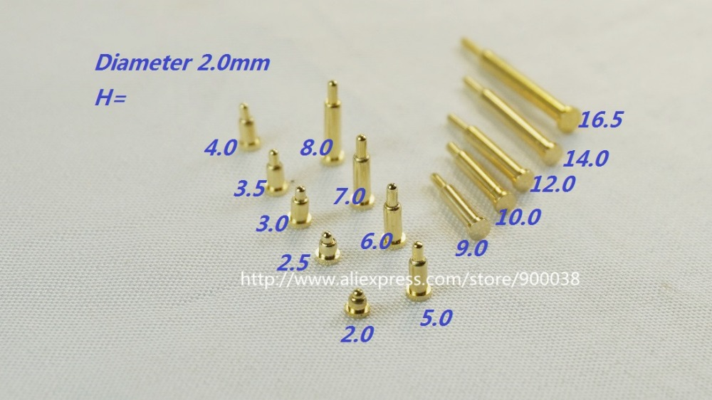 100 pcs Spring pogo pin connector diameter 2.0 mm height 2.0 2.5 3.0 3.5 4.0 5.0 6.0 7.0 8.0 9.0 10.