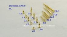 100 stücke Frühling pogo pin stecker durchmesser 2,0mm höhe 2,0 2,5 3,0 3,5 4,0 5,0 6,0 7,0 8,0 9,0 10,0 12,0 14,0 16,0 18,0mm SMD