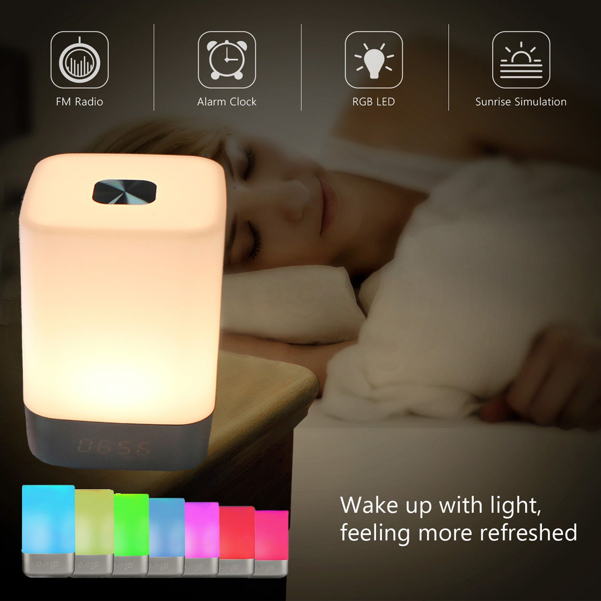 RGB LED Alarm Clock Bedside Lamp Touch Sensor Night Light USB Power Colorful Intelligent Table Light Bedroom Home Decor meaningsfull colorful diamond usb projector led night light sperker 7 color illusion luminaria sleepling lamp for bedroom decor