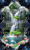 picture in picture vinyl flooring wall paper Waterfall Lotus carp wallpapers for living room Bathroom kitchen walkway
