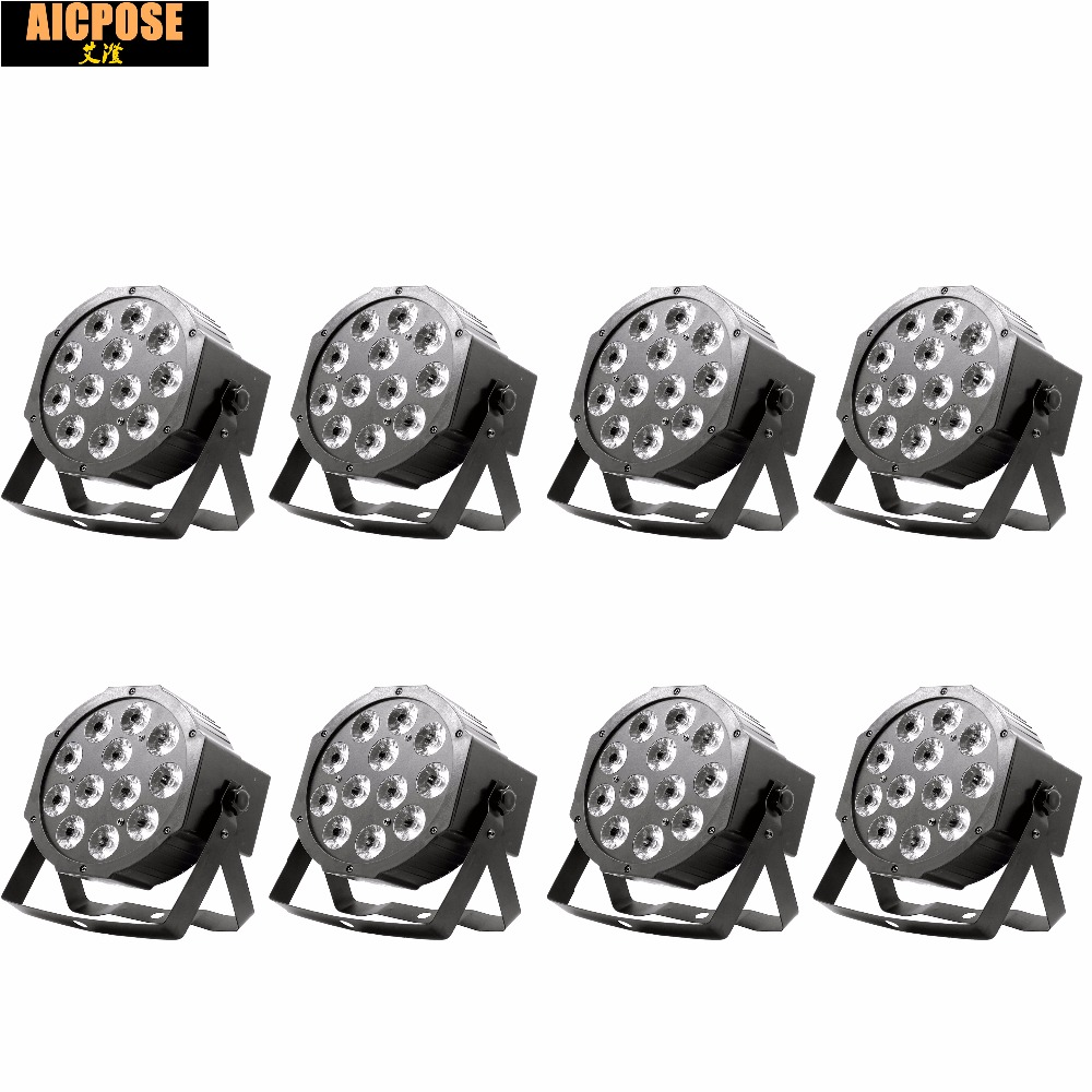 8pcs 12*12w Led Lamp Beads 12x12W Led Par Lights RGBW 4in1 Flat Par Led Dmx512 Disco Lights Professional Stage Dj Equipment
