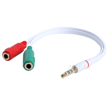 1pcs 3.5mm 1 In 2 Headphone Microphone Audio Splitter Stereo Earphone Cable for Pad Phone Android Mobile MP3 MP4
