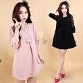 4xl más el tamaño grande ropa de mujer vestido de 2016 del otoño del resorte vestidos de corea lindo dulce ahueca hacia fuera negro rosa vestido de mujer A1750