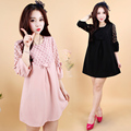 4xl plus big size women clothing dress 2016 spring autumn korean vestidos sweet cute hollow out black pink dress female A1750