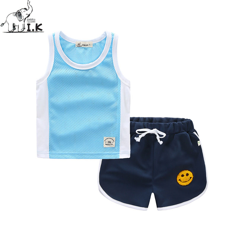 I.K Boy Vest Suit Breathable Sport Suit For Boys 2017 Summer New Arrived Children Clothing Two Piece Set Comfortable Suits A1082 2016 new summer baby sport suit 100
