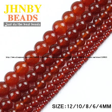 JHNBY Red carnelian Natural Stone High quality Round Loose beads ball Smooth Onyx 4/6/8/10/12MM Jewelry bracelet Making DIY()