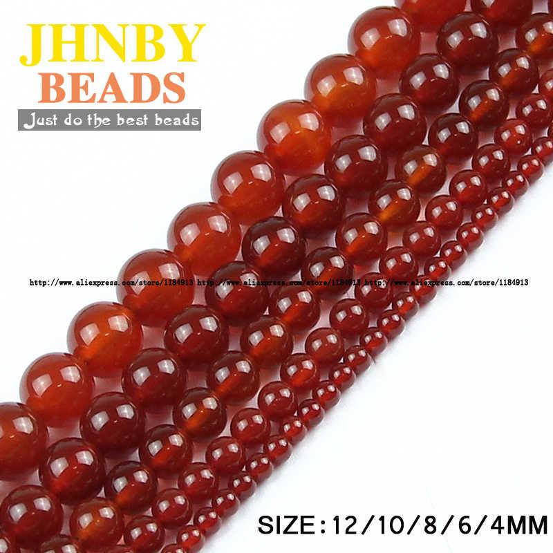 JHNBY Rot karneol Natürliche Stein Hohe qualität Runde Lose perlen ball Glatte Onyx 4/6/8/10 /12MM Schmuck armband, Die DIY