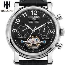 Hombres Mecánicos automáticos del reloj con correa de cuero de moda 2016 de la venta superior de lujo gran dial de negocios Retro esqueleto de acero inoxidable