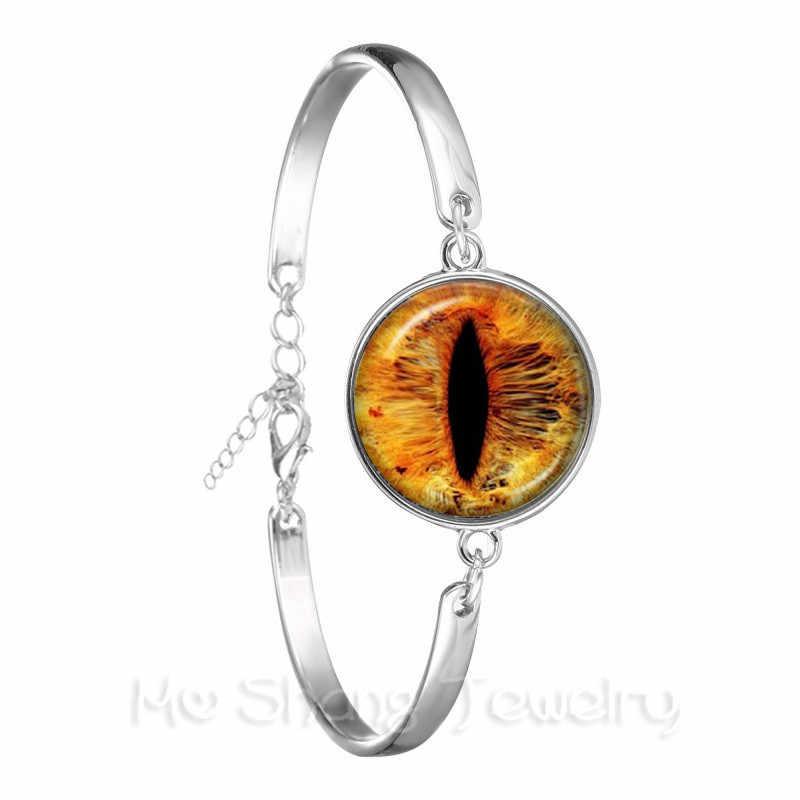 Модные Цветной браслет evil Eye красивое животное дракон кошачий глаз сердце 18 мм стекло, кабошон, серебро покрытием браслет для Для женщин
