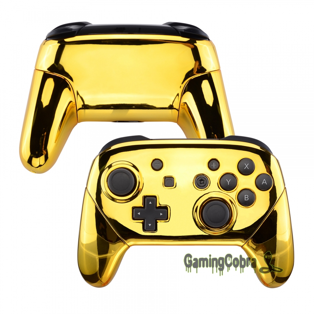 Glossy Chrome Gold Faceplate Backplate Housing Shell Cover with Handles Rails Replacement for Nintendo Switch Pro Controller