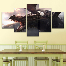 Game Dragons 5 piece Wallpapers modern Modular Poster art Canvas painting for Living Room Home Decor