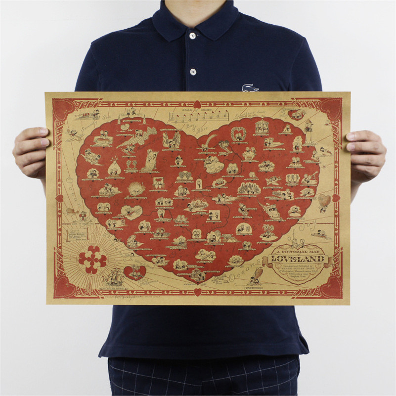 love blessing Map Retro vintage poster Kraft paper painting wall art craft sticker for living room 51x35m ON068