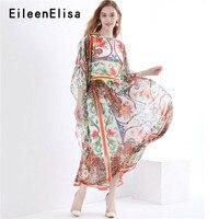 Дизайнерские платья для подиума 2018 высокое качество длинное платье для отпуска с цветочным принтом летнее винтажное бохо