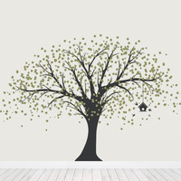 New Large Tree With Birdhouse Wall Sticker Living Room Vinyl Mural Kids Room Flying Birds Falling