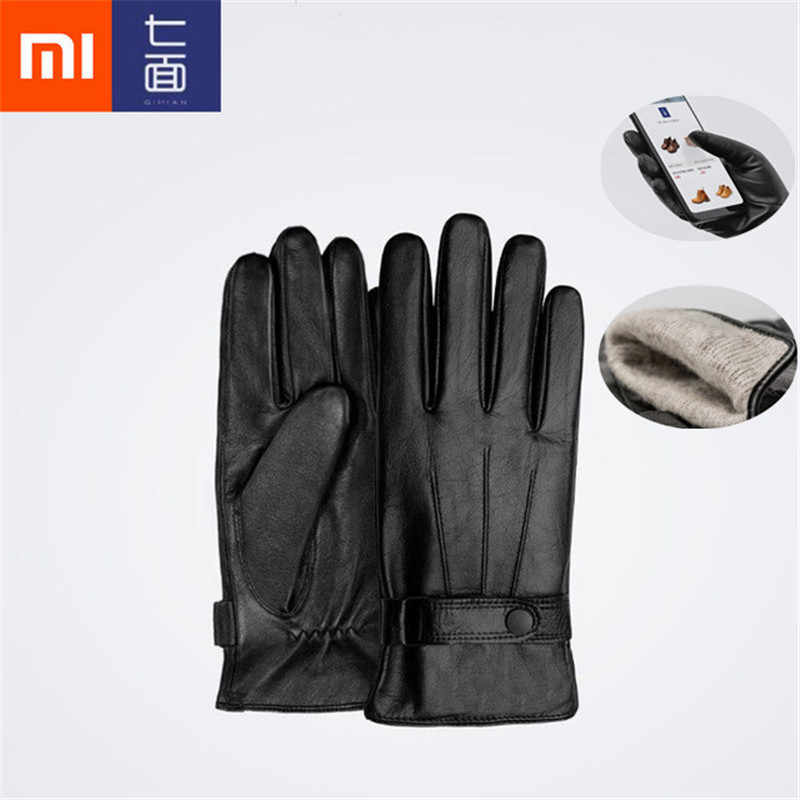 Xiaomi Mijia Qimian Lambskin Touch Screen Gloves Spanish Raw Winter Autumn Thicken Warm unisex for driving,moto,fishing D5#