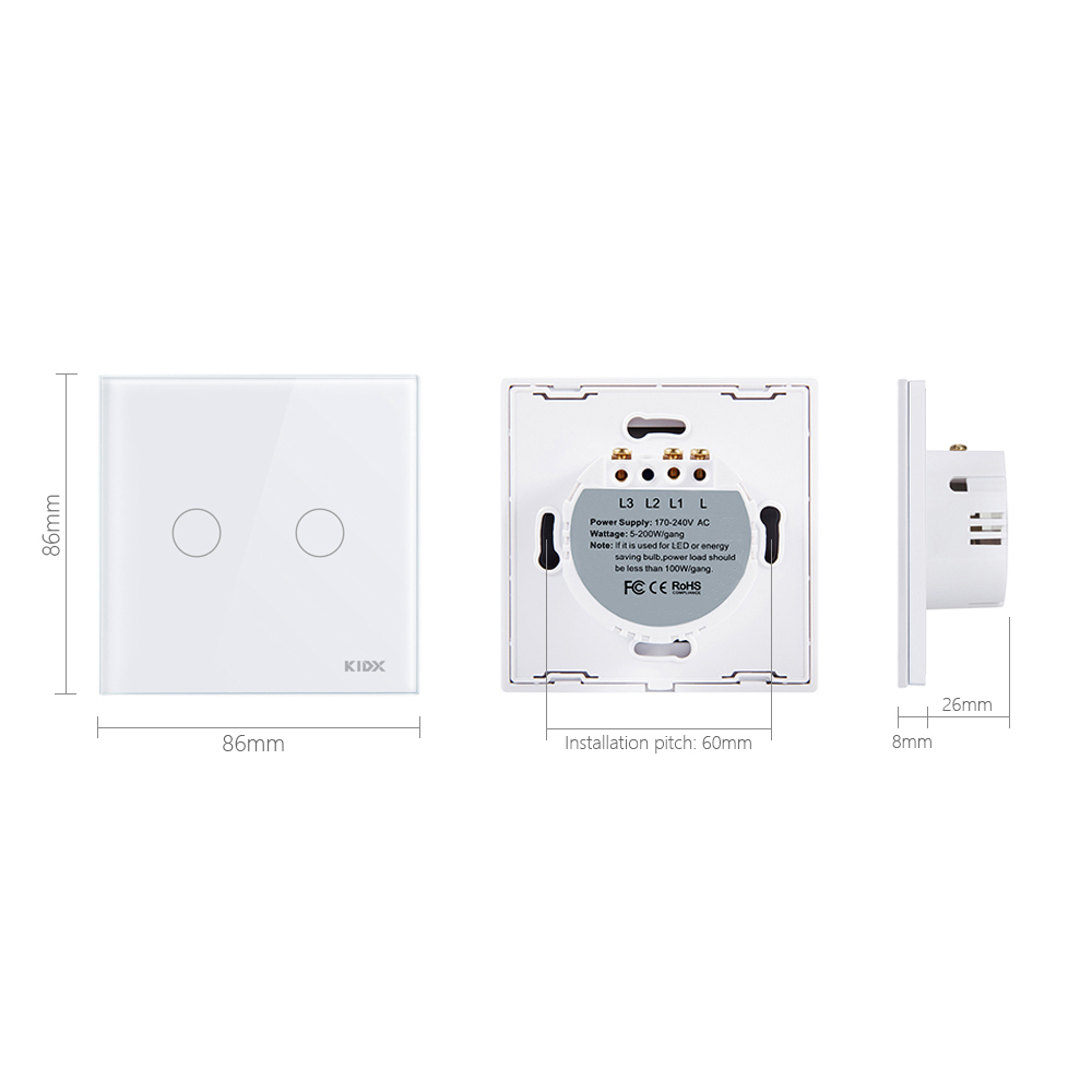 Kidx Smart Home Remote Control Switch 2 Gang 1 Way Wall Touch Wiring A Light Wireless In Switches From Lights Lighting On