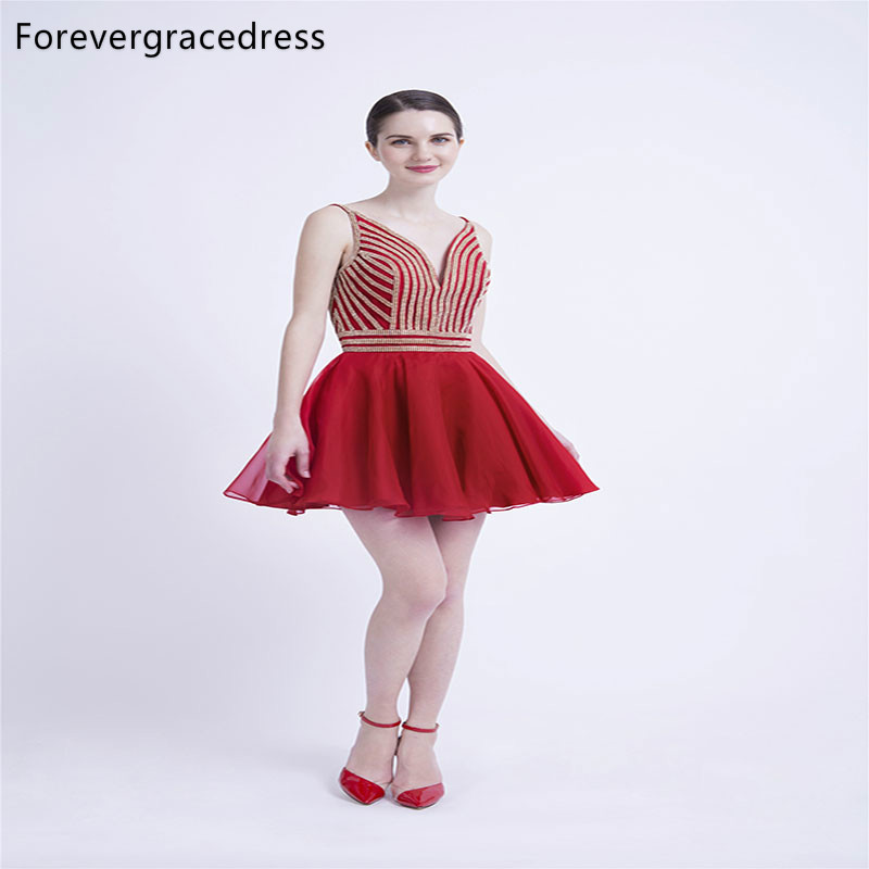 Forevergracedress Red Fit And Flare Short Cocktail Dresses A Line Chiffon Backless Girls Party Gowns Plus Size Custom Made