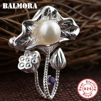 BALMORA 925 Sterling Silver Lotus Pearl Pendants for Women Mother Gift Vintage Jewelry Accessories Without a Chain SY13407