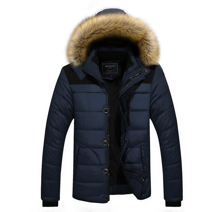 2019 New Arrival Warm Winter Jacket Men Hooded Casual Slim   Parka   Brand Men's Coat Warm Down Plus size M-5XL