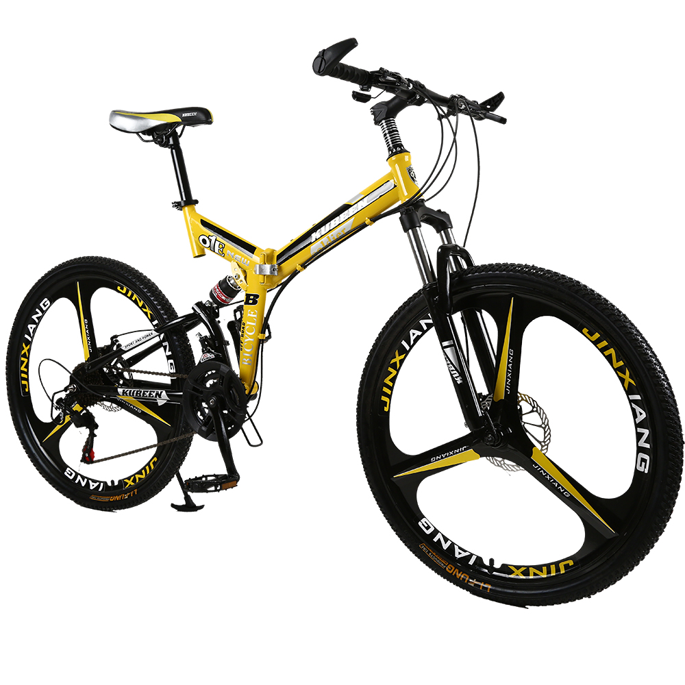 26 inches 21 Speed Folding Bicycle Male / Female / Student Mountain Bike Double Disc Brake Full Shockingproof Frame Brakes|Bicycle| |  - title=