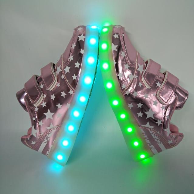 РЕАЛЬНЫЕ ФОТО размер 26-35 USB зарядка Дети Светодиодные Светящиеся Кроссовки Светящиеся для девочек Детей кроссовки со светом подошвы тапочки