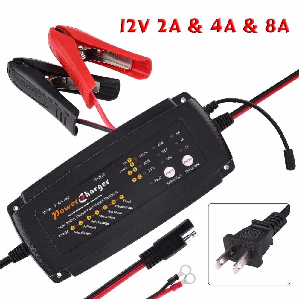 Automatique Chargeur de Batterie pour les Batteries Au Plomb-Acide De Voiture Moto Camion RV AGM GEL US Plug 12 v 2/ 4/8A 7-Stade 3-en-1