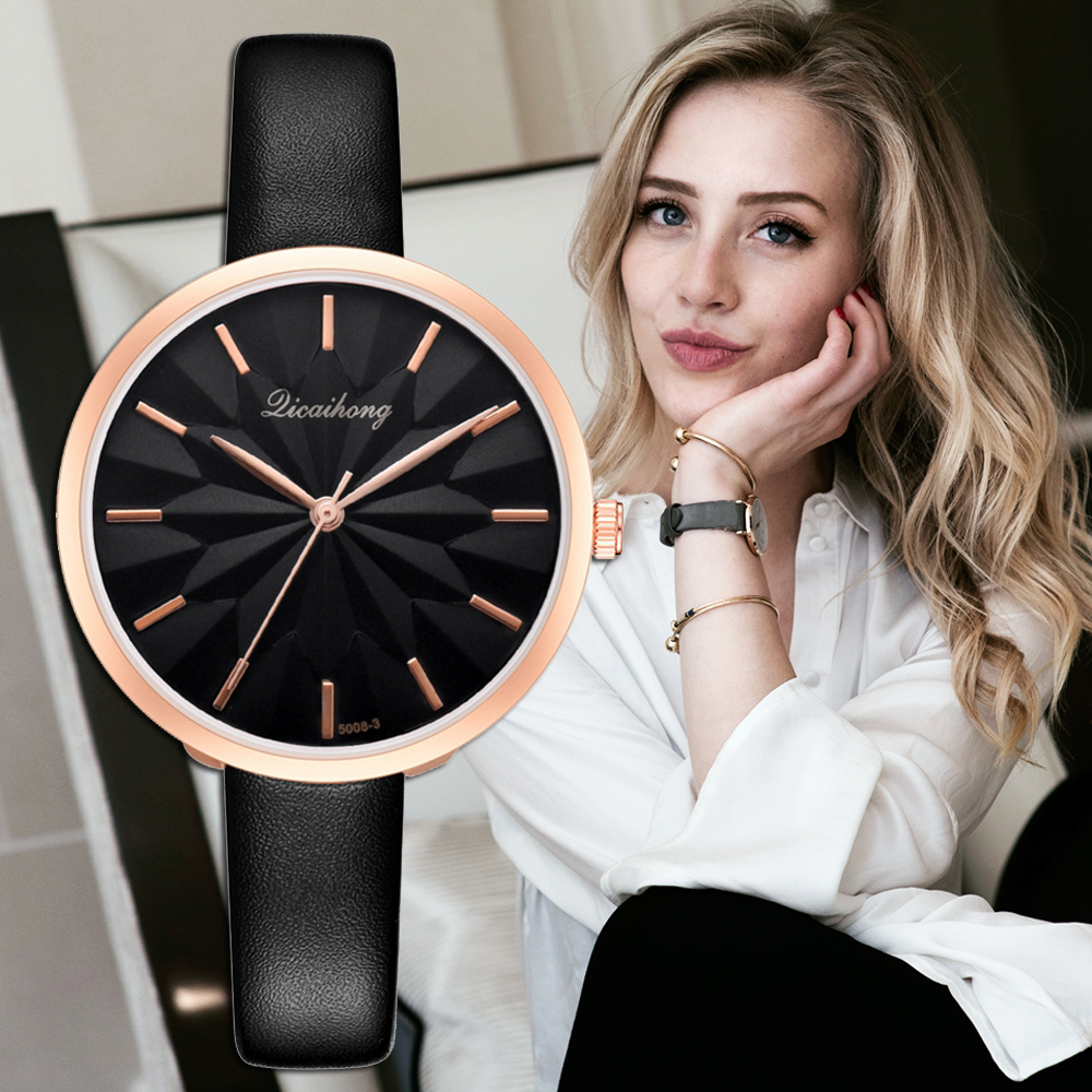 Wrist Watches Ladies 2019 New Flowers Dial Desgin Fashion Leather Strap Bracelet Quartz Clock Luxury Women's Wristwatch Relogio