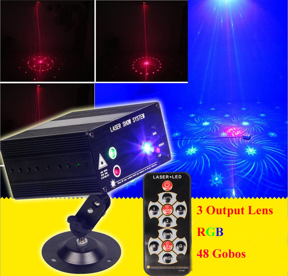 3 Lens RGB Laser Remote-Controlled Stage Lighting Red Green Laser Light with Blue LED Sound Active for DJ Disco Home Show 3w 3 led rgb sound active crystal mini party light transparent green white