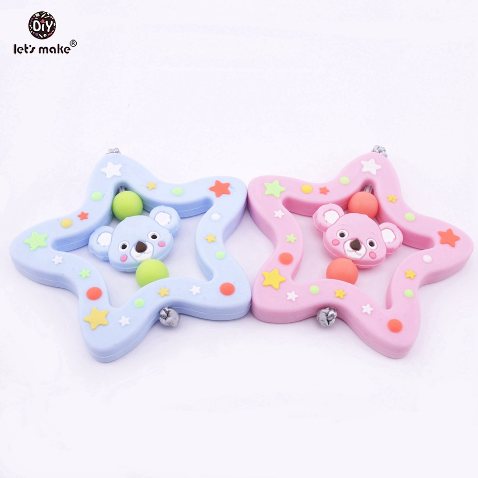 Lets Make 2pcs Star Silicone Teether Mini Koala Baby Rattles Boy and Girl Shower Gift BPA Free Baby Toys Chewable Baby Teether