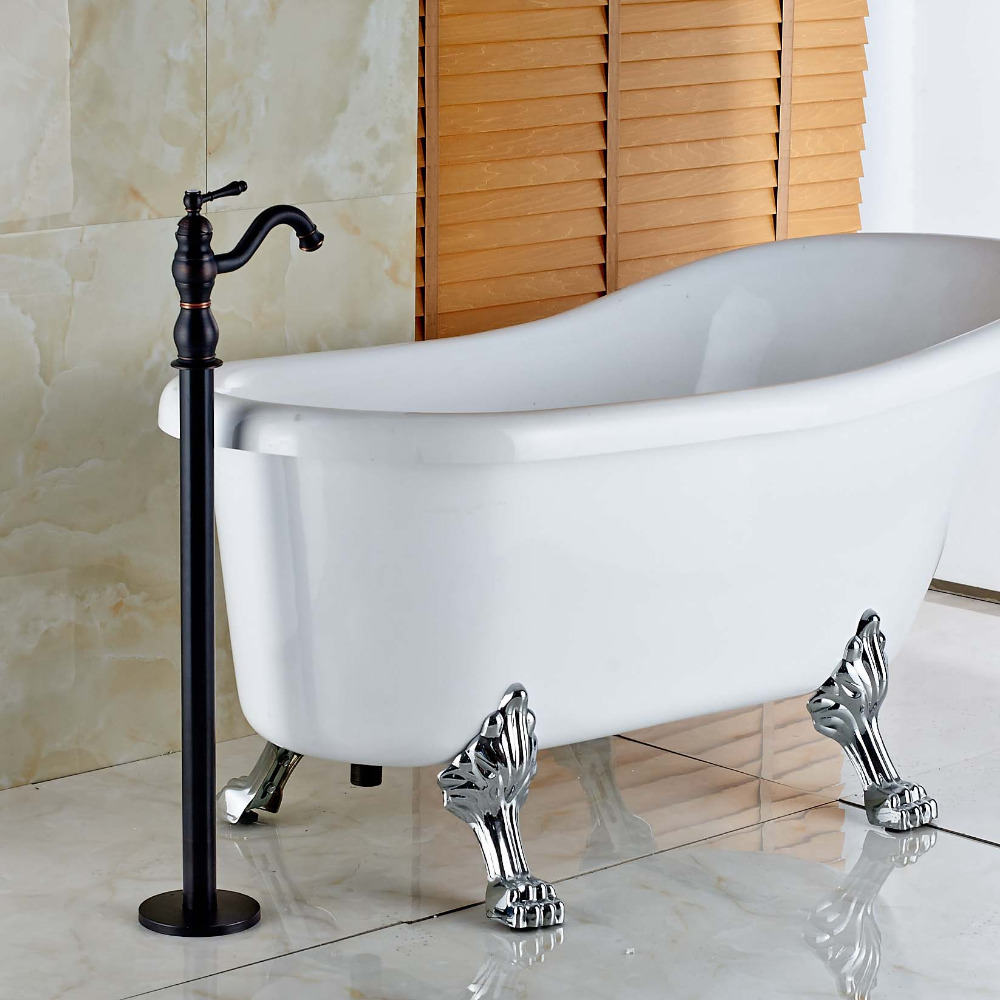 New Free Standing Single Lever Handle Bathtub Faucet Oil Rubbed Bronze Mixer Tap ...