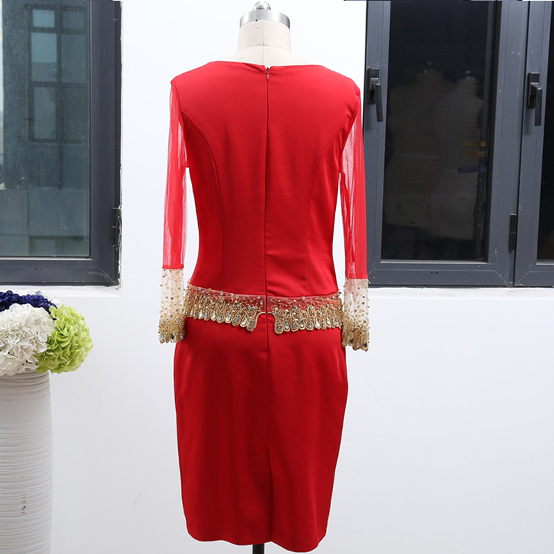 MACloth Long Sleeves Illusion Red Mini Mother of the Bride Dresses Knee Length Wedding Party Formal Gown 262154