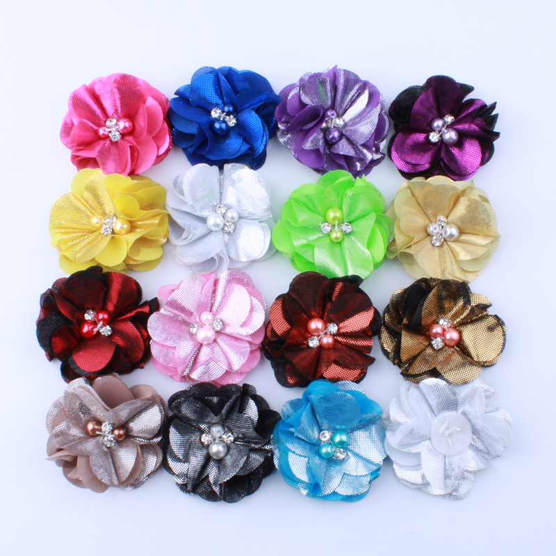 120PCS 5.5CM Fashion Ruffled Metallic Fabric Flowers With Pearls For Hair Clip Lovely Flora Flower For Shoes Apparel Headwear